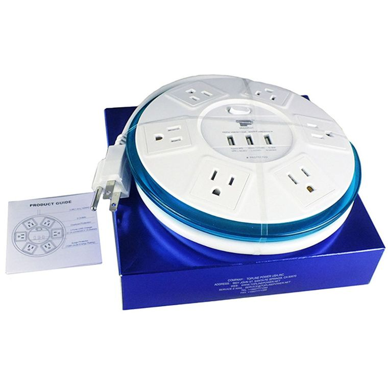 TP® UFO Shape Clear-blue Power Center 6-Outlet Power Strip Surge Protector EMI-/RFI-Filter with 4-Ft Power Cord, 3 High Speed USB ports Charger 3.1A Capability for Conference Meeting Room