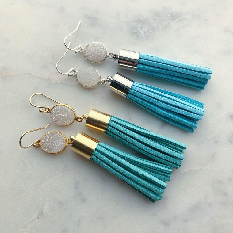Turquoise Tassel Earrings, Fringe Earrings, Druzy Earrings