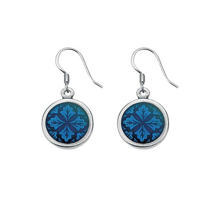 Leaf Medallion/Cobalt Wire Earrings