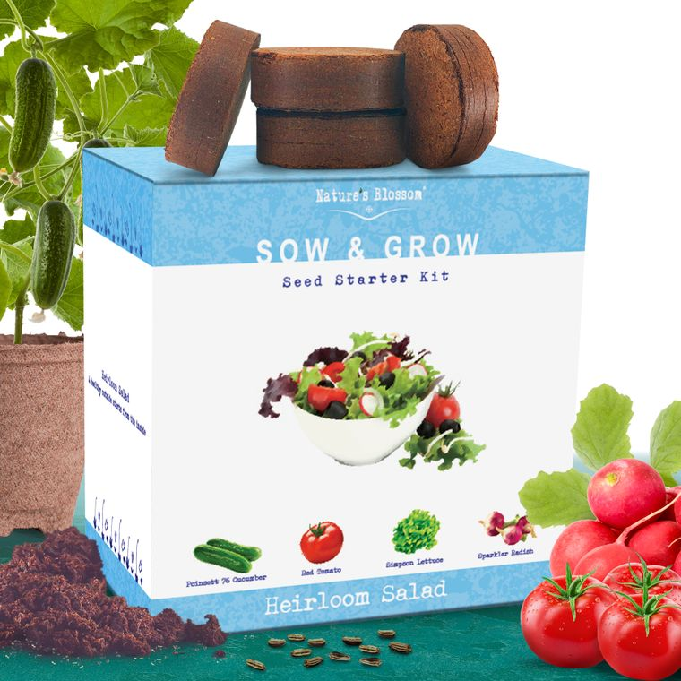 Nature's Blossom Heirloom Salad Vegetables Growing Kit