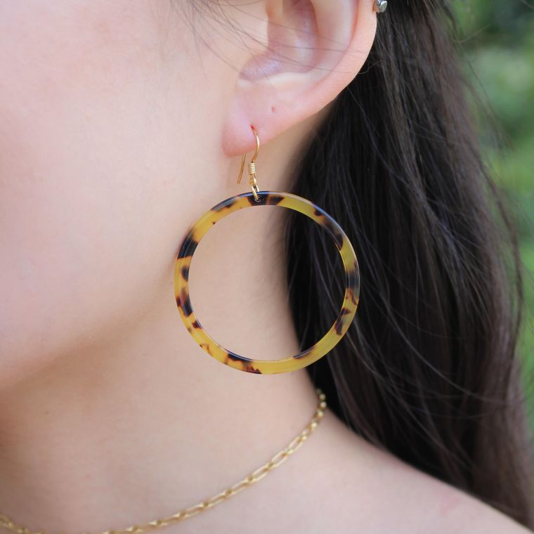 Blakely Tortoiseshell Hoop Earrings - Brown