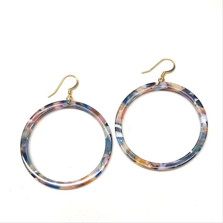 Blakely Tortoiseshell Hoop Earrings - Multi