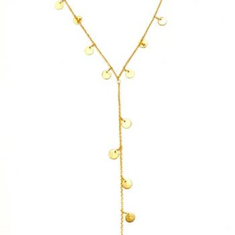 Charming Disk Lariat - Gold