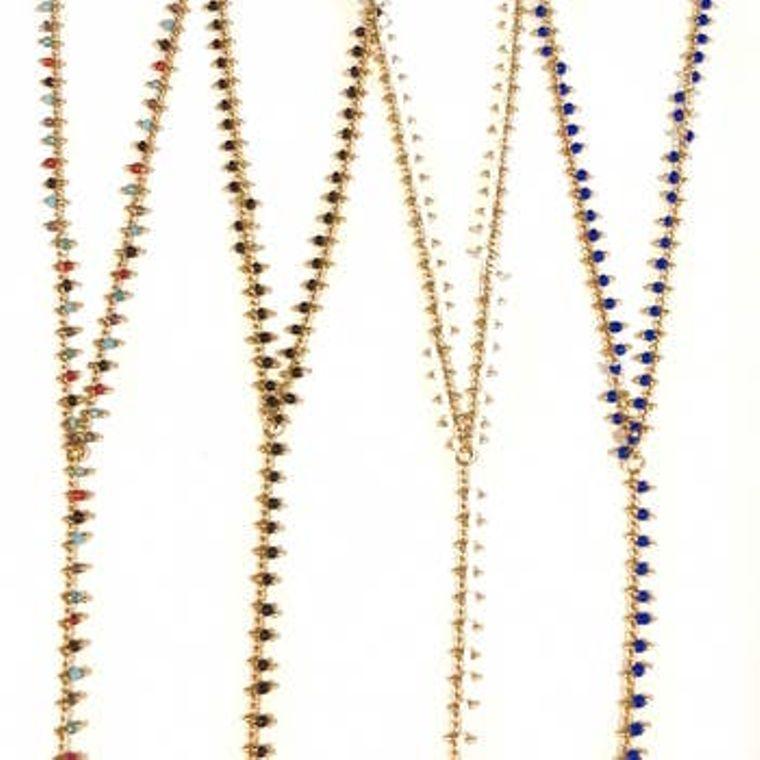 Mini Beaded Lariat Necklaces - Black