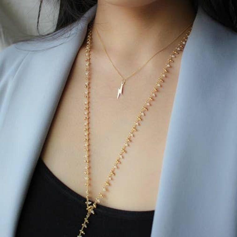 Mini Beaded Lariat Necklaces - White