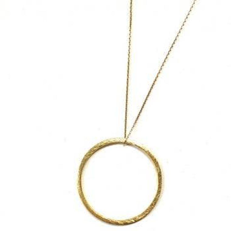 Long Circle Drop Necklace - Gold