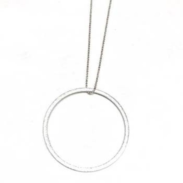 Long Circle Drop Necklace - Silver