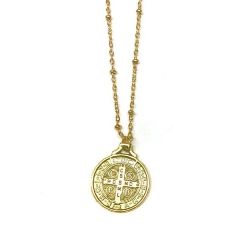 Saint Benedict Coin Necklace-Gold