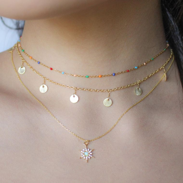 Matte Charm Necklace - Gold