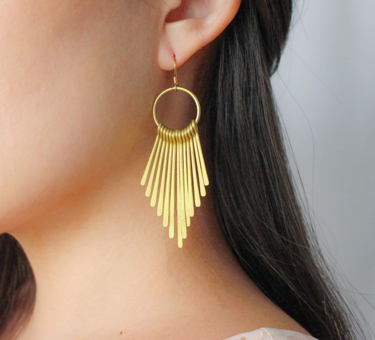 Gold Metal Fringe Earrings