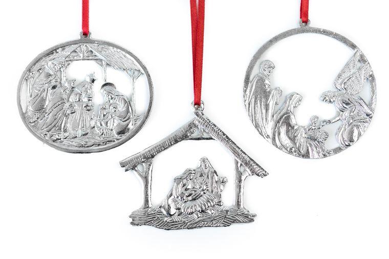 USA Handcrafted Nativity Religious Holiday Keepsake Christmas Ornament Pewter Gift Set