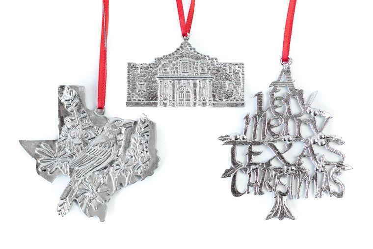 House of Morgan Pewter Texas TX Alamo Christmas Keepsake Ornament Gift Set