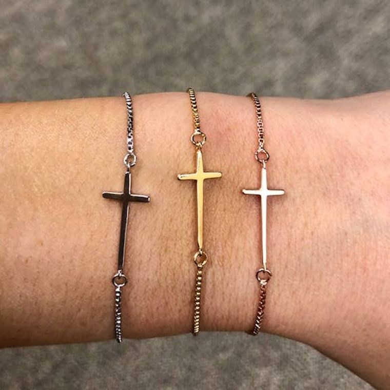 Cross Slider Bracelet Silver
