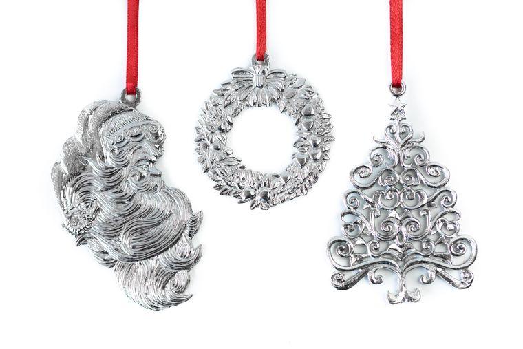 USA Handcrafted Christmas Tree Wreath Santa Theme Keepsake Holiday Ornament Gift Set