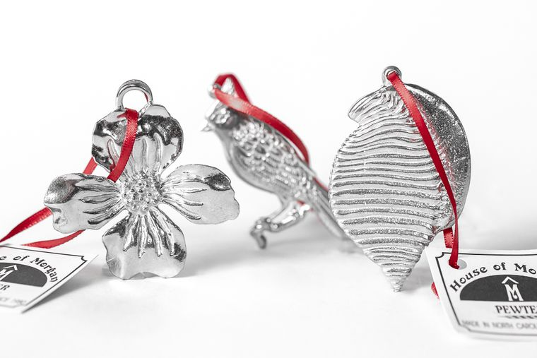 USA Handcrafted North Carolina NC State Symbols Cardinal Dogwood Scotch Bonnet Pewter Gift Set