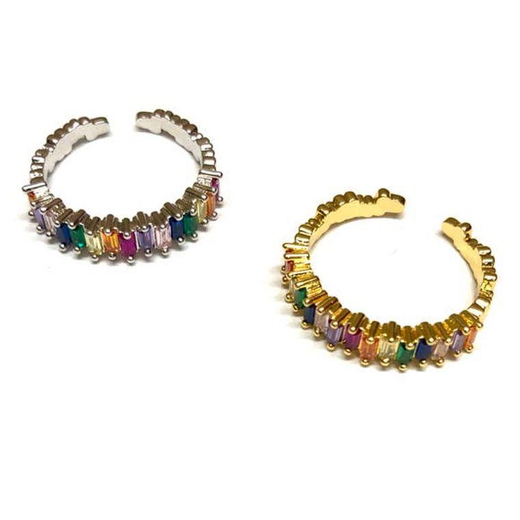 Adjustable Rainbow Rings Silver