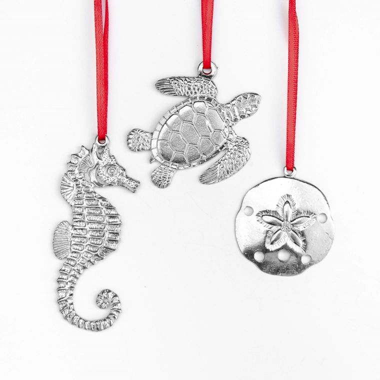 Seahorse Sea Turtle Sand Dollar Christmas Ornament Holiday Keepsake Beach Lover Gift Set