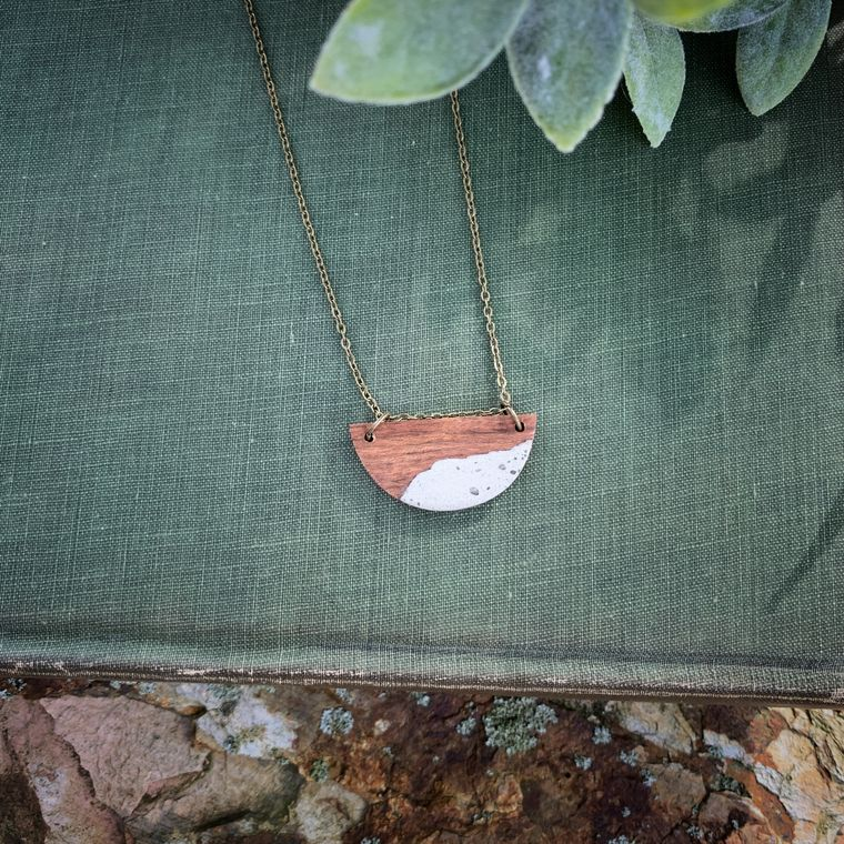 SMALL HALF MOON ROSEWOOD AND CONCRETE NECKLACE, NATURAL, BOHO, MINIMALIST LAYERING NECKLACE
