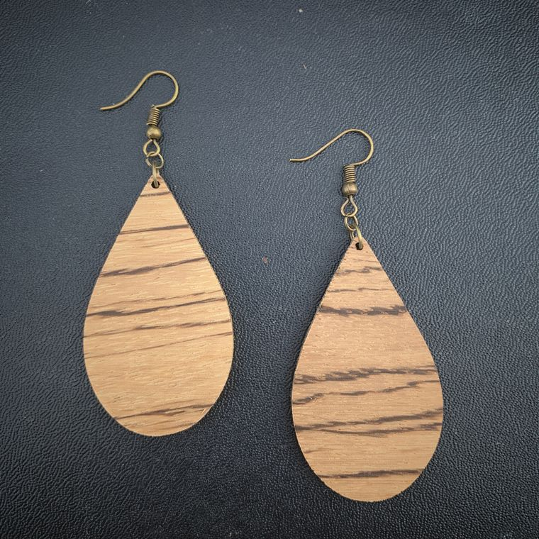 TEARDROP ZEBRA WOOD EARRINGS, NATURAL, BOHO, MINIMALIST