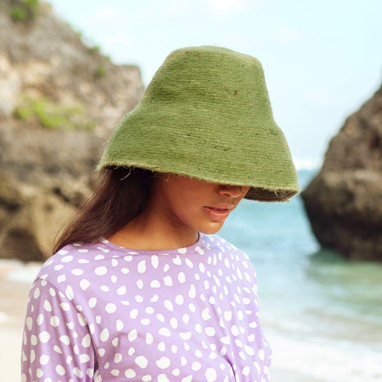 Naomi Jute Bucket Hat, in Matcha Green (1-3 days)