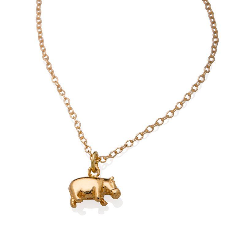 Hippo Necklace - Hippo Charm 18k Gold Filled - Hippopotamus Pendant - Hippopotamus Necklace