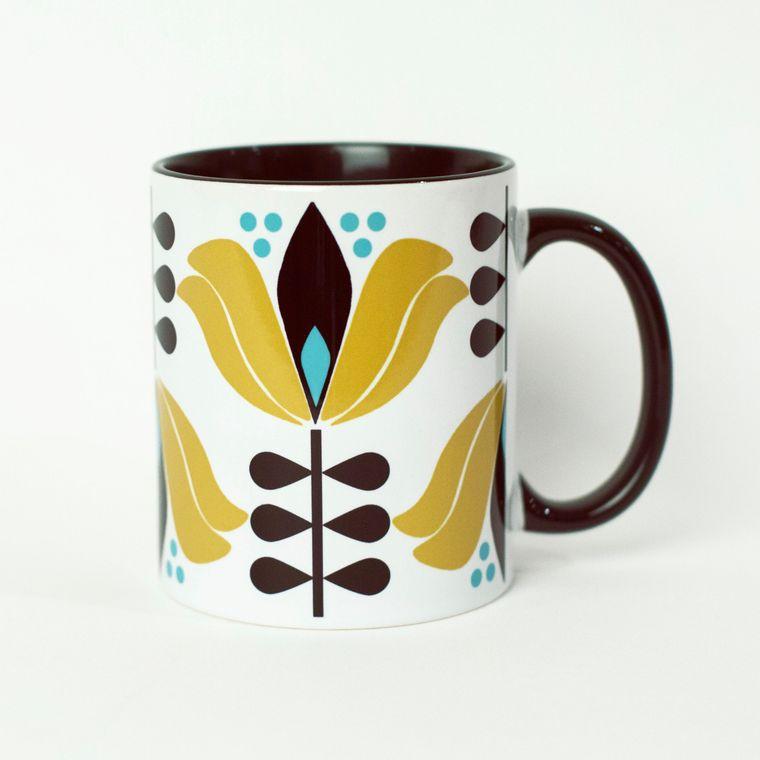 Mid Century Lotus Flower Coffee Mug