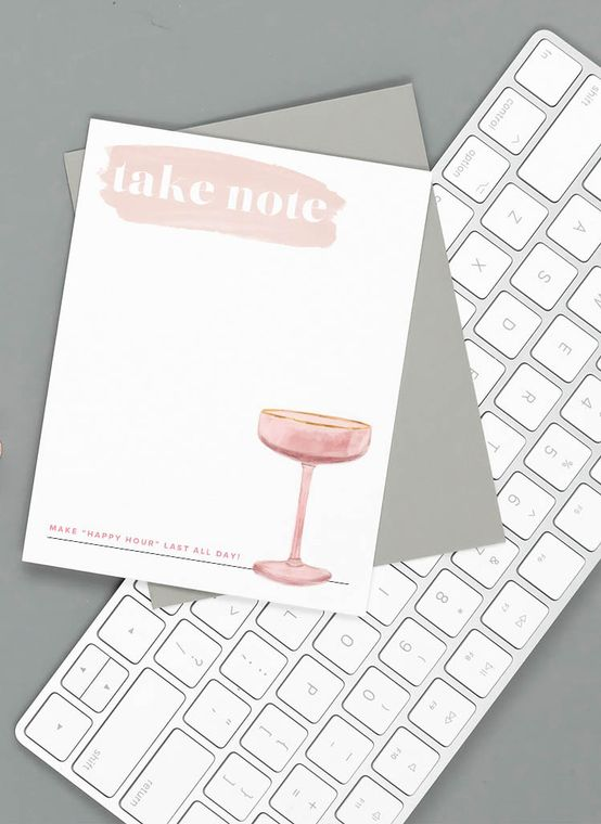"""""""Take Note"""" Blush Champagne Glass Happy Hour Notepad"""