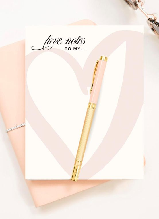 Love Notes to My... Blush Heart Watercolor Notepad