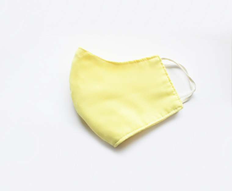 Banana Taffy Face Mask, Pastel Yellow with White Elastic, Women and Teen Size