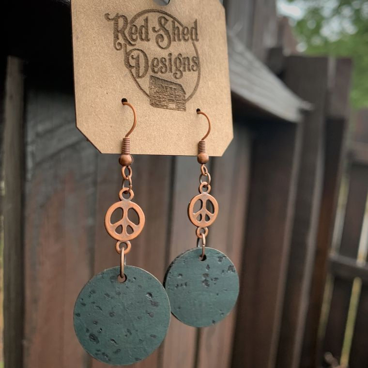 Copper Peace Sign with Dark Green Cork Circle Earrings