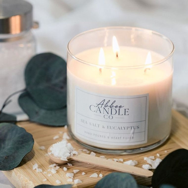 Sea Salt & Eucalyptus 3 Wick Soy Candle by Abboo Candle Co