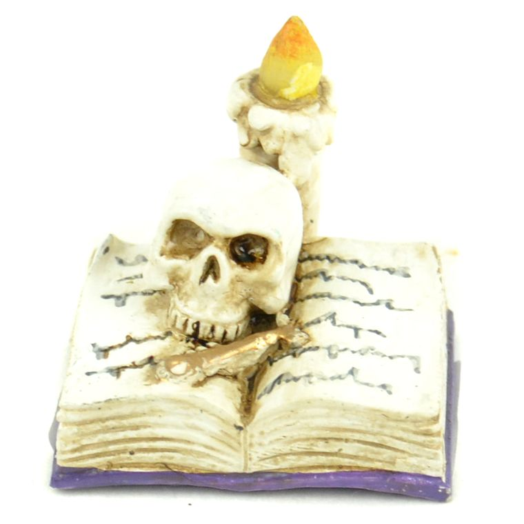 """1"""" Open Book w/Candle & Skull"""