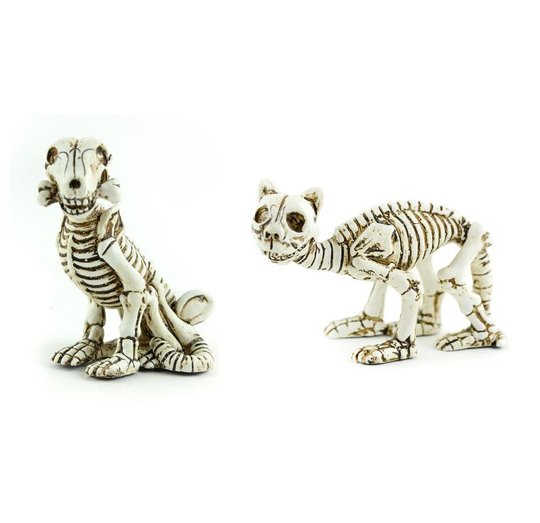 "3"" Skeleton Cat and Dog"