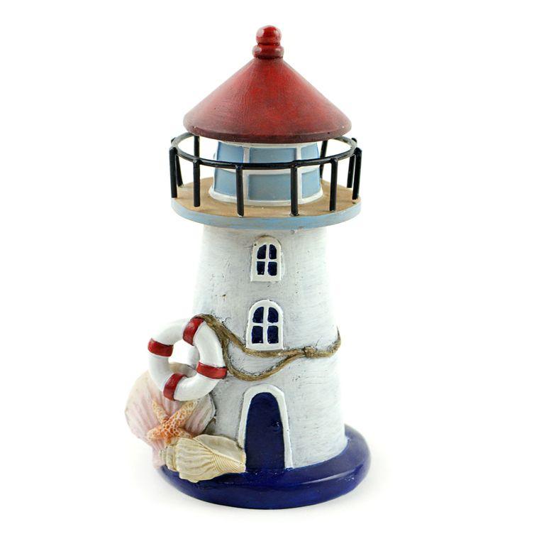 "6"" Nautical Lighthouse with Seashells"