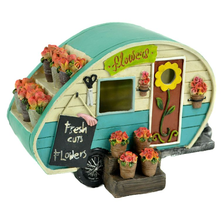 "8"" Turquoise Camper with Flowers"
