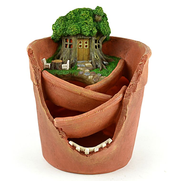 "9"" Solar Treehouse Miniature Pot"