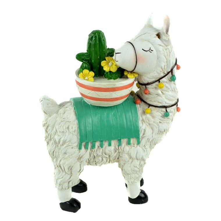 "8"" White Llama with Cactus"