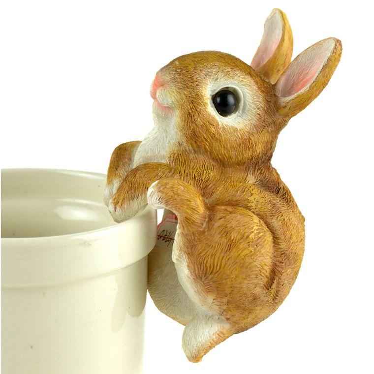 "6"" Brown Bunny Garden Pot Hanger"
