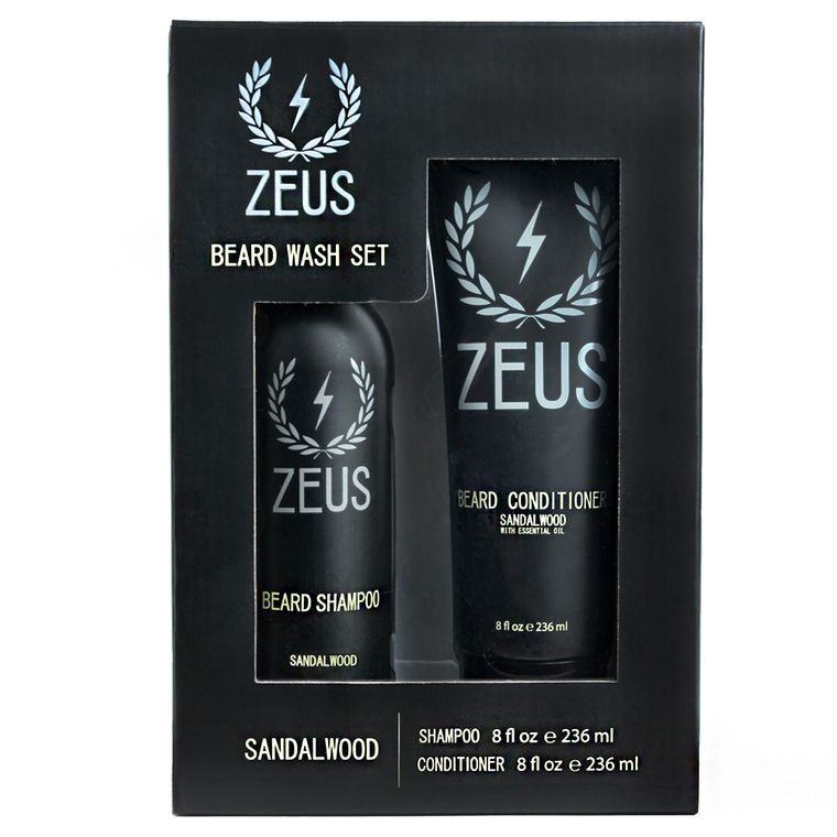 Zeus Beard Shampoo and Conditioner Set, Sandalwood