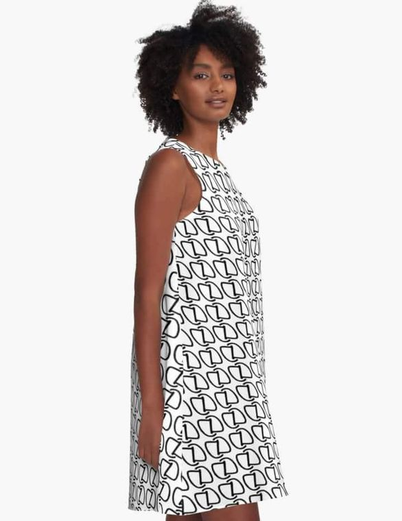 Dahn Dahlas Authentics brand logo print a-line dress