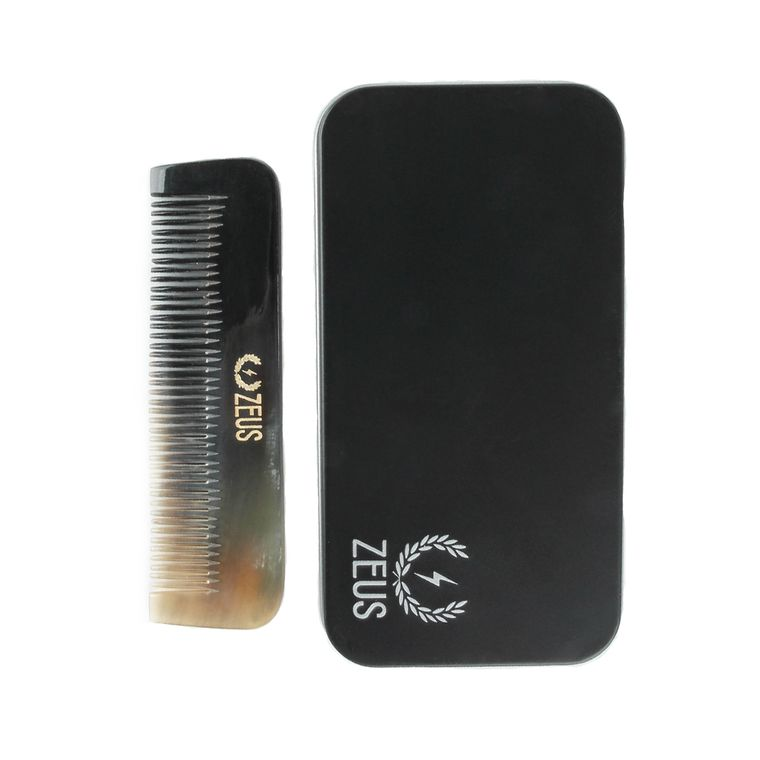 Zeus Natural Horn Medium Tooth Beard Comb in Deluxe Tin