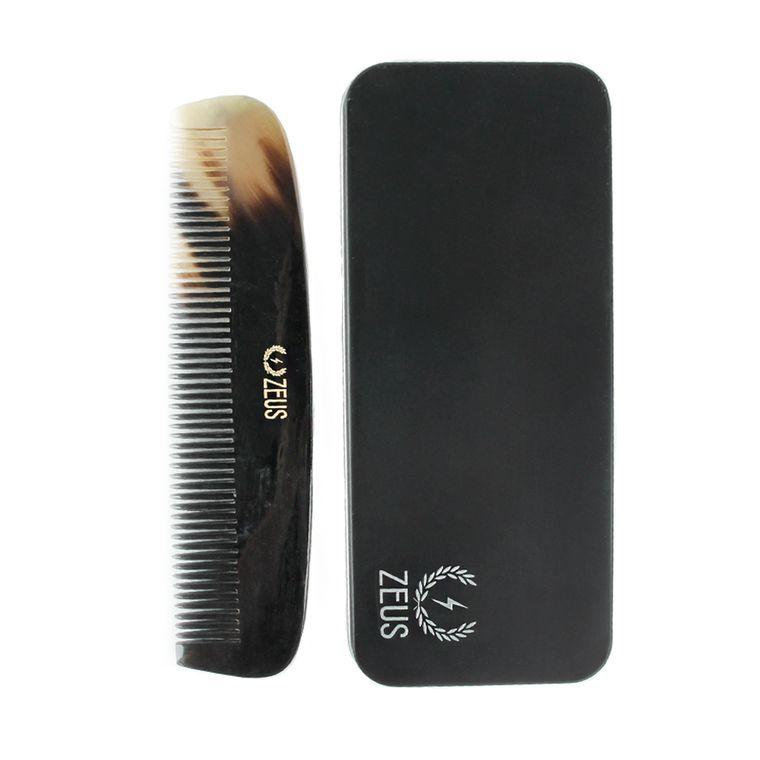 Zeus Natural Horn Wide Tooth Beard Comb in Deluxe Tin