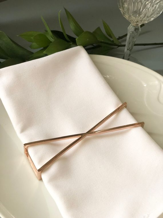 X Napkin Wrap, Rose Gold Single