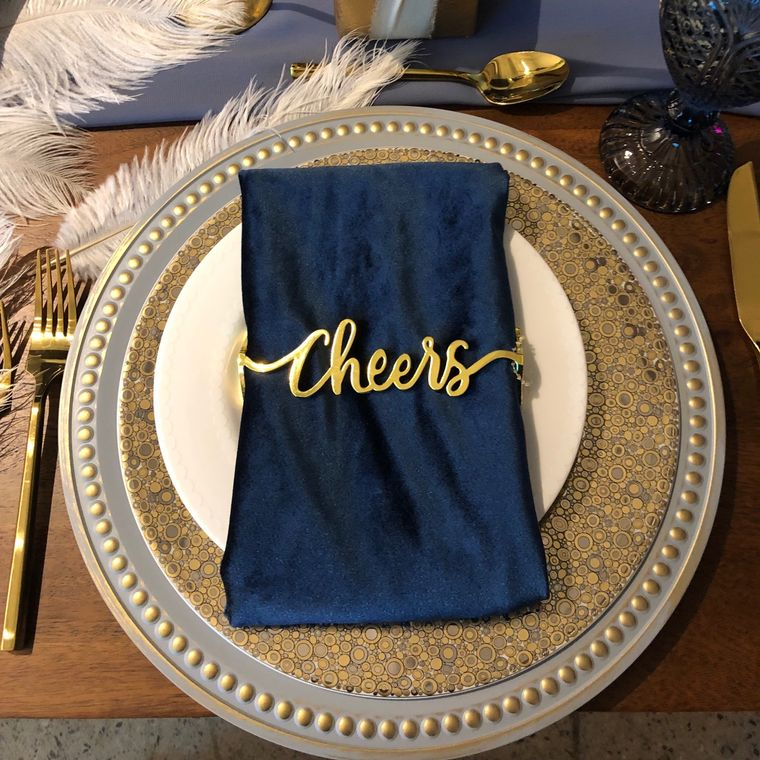 Cheers Napkin Wrap, Matte Gold Single