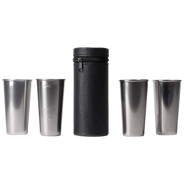 Stainless Steel 4pc Double-Shot Sized Shot Glass Set w/Carry Case