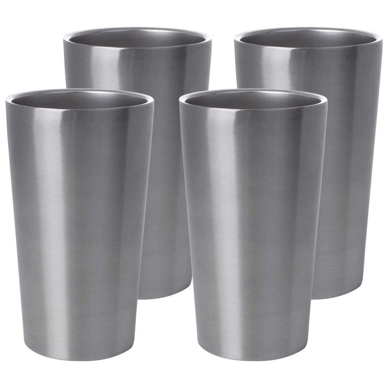 Maxam Stainless Steel 4pc Double Wall 13oz Tumbler Set