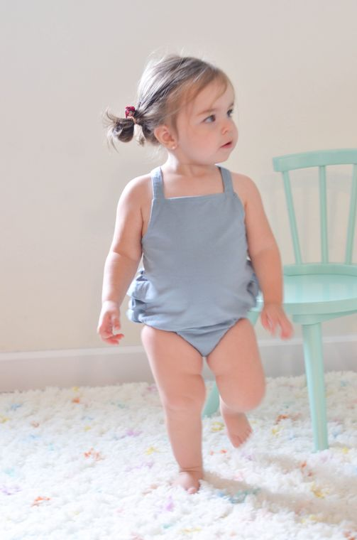 The Infant Romper in Dusty Blue size 6/12 mo