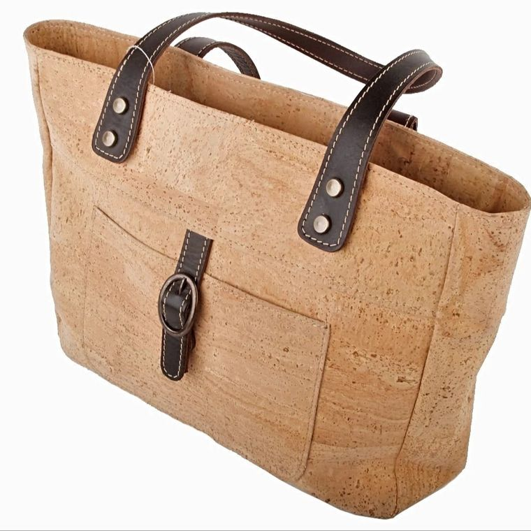 Natural Cork and Leather Classic Handbag