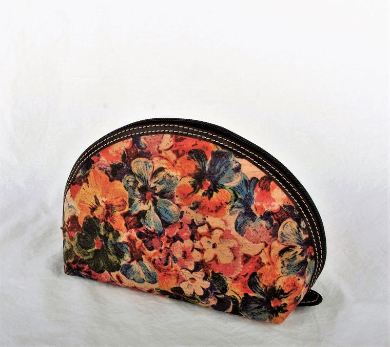 Natural Cork and Leather Floral Cosmetic Bag-Lg