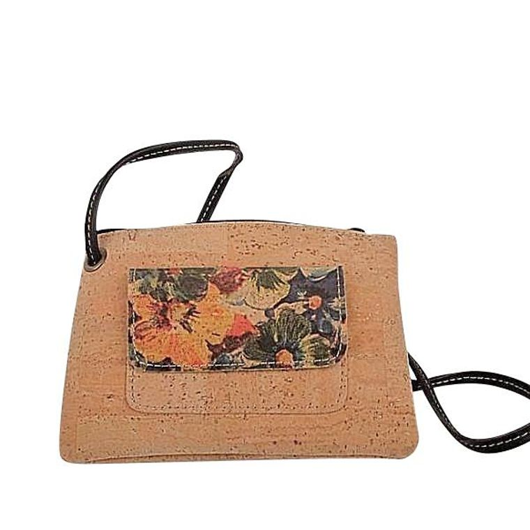 Natural Cork and Leather Floral Crossbody Bag